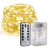 PChero Fairy String Lights, 6AA Batterie Betrieben 33FT 100 LEDs Kupferdraht Lichterketten mit 8 Modi Fernbedienung für Hochzeit Weihnachten Outdoor Decor [warmweiß]