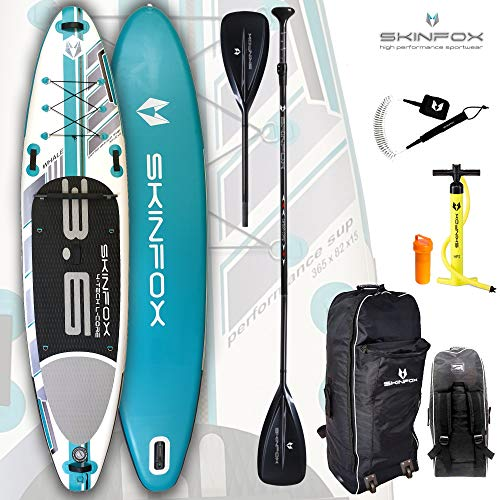 SKINFOX Whale aufblasbares 4-lagiges SUP Paddelboard Stand Up NEUSTE SUP Generation 4 TECH L-CORE (365x82x15/Tragkr.<200 kg) Carbon-Set türkis (Board,Bag,Pumpe,Carbon SUP-/Kayak Paddle+Leash) Carbon Blade Set