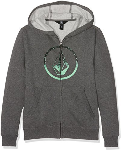 Volcom Jungen Kinder Stone Zip Hoodie Lightweight Pullover Sweatshirt Kapuzenpulli Reißverschluss Grau Kapuzenpullover, Graphite, XL Volcom Zip-hoodies