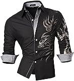 jeansian Herren Freizeit Hemden Shirt Tops Mode Langarmlig Men's Casual Dress Slim Fit 2028 (USA S (165-170cm 60kg-65kg), Z001_Black)