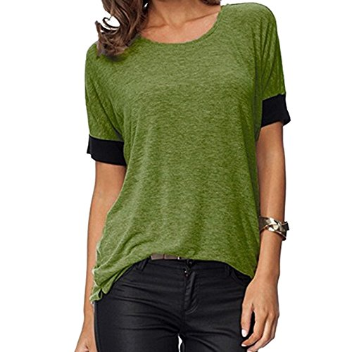 CAOQAO Damen Sexy Einfarbig Tops Kurzarmshirts Rundhals-BeiläUfige T-Shirts Loose Fit T-Shirt Blusen Top ()