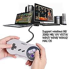 iNNEXT 2x USB Classic Controllers,Retro SNES Controller USB Gamepad PC-Controller Super Famicom Joypad für PC Mac OS Raspberry pi Windows ( Purple)