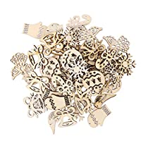‏‪ULTNICE 50PCS Ornaments Hanging Embellishment Christmas Hanging Embellishment Crafts Woods Hanging Ornament for Xmas DIY Craft(Mixed Pattern)‬‏