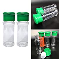 20pcs Spice Container,Spices Bottle Pepper Shaker,Seasonning Storage Container Bottle,Translucent Plastic Toothpick Sugar Cocoa Powder Coarse Spices Serving Holder(Green and Clear)