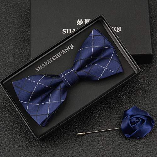 Plaid Bow (xiaoxiaoshen Briten des Bräutigams Groomsmen Married Bow Tie Männerkleider Navy Blue Dark Blue Plaid Bow)