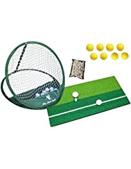 Alfombrilla para práctica de golf, red, pelotas de práctica y soportes de madera de 70mm