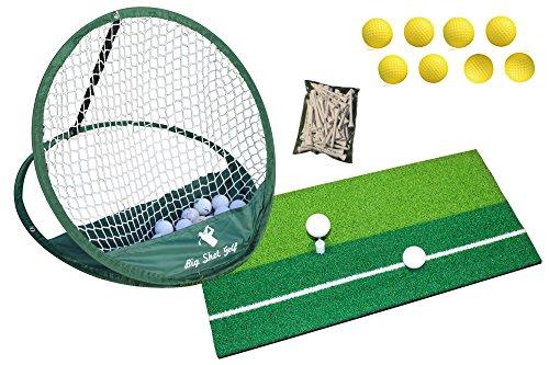 Tapis d'entraînement de golf, filet à éclats, balles d'entraînement et lot de tees de 70mm en bois