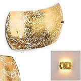 Wandleuchte Pilar - Wandspot für drinnen mit Lampenschirm aus Glas - Wandstrahler in Gold mit E14-Fassung - Wandleuchte Schlafzimmer - Wandleuchte Küche