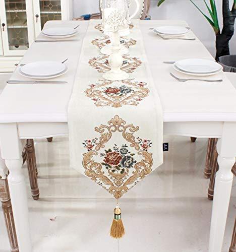 Tischläufer Barocke Weißes Dreieck Im Europäischen Stil, Rechteckigen Vintage Tabelle Runner...
