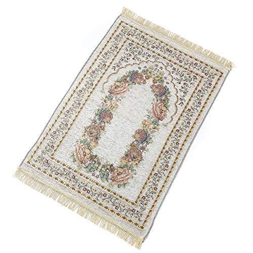 Alfombra de oración espaciosa, portátil, Plegable, para Rezar, con diseño Floral, de algodón, Antideslizante...