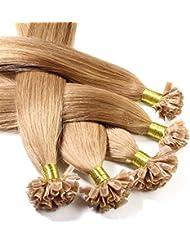 Just Beautiful Hair 200 x Bonding Extensions aus Premium-Echthaar, 40cm, 0,8g Strähnen, glatt - Farbe 12 honigblond