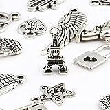 Naler 120x Charms Pendentifs Charms argent Antique rétro pour la fabrication de bijoux