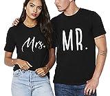 Mr Mrs Pärchen T-Shirt Set Partnerlook Couple Shirt Geschenke Für Paar Shirts mit Aufdruck Thanksgiving Kurzarm Baumwolle 2 Stücke(schwarz-Herr-2XL+Dame-M)