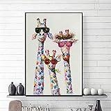 wydlb Arte Giraffa Animale Colorato Una Famiglia con Gli Occhiali Che dipinge Quadri su Tela Stampe su Tela, Arte della Parete per Camera da Letto 60x80 cm Senza Cornice