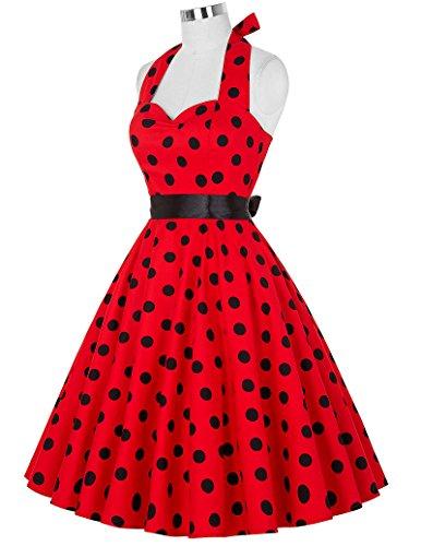 Yafex Damen Vintage Retro Festliche Kleider Neckholder Polka Dots Sommerkleid ZY4599 FarbeF