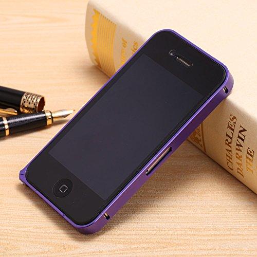 FindaGift iPhone 4 4s Frame Hülle, Leicht Hart Metall Hippocampal Schnalle Frame Case Anti-Kratzer Seitenschutz Bumper Cover für iPhone 4 4s Frame Weiß Lila