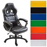 CLP Racing Bürostuhl Pedro XL, Gaming Stuhl mit Kunstleder-Bezug, höhenverstellbar 46-56 cm, max. belastbar bis 180 kg, Chefsessel mit hochwertiger Polsterung, in verschiedenen Farben schwarz/schwarz
