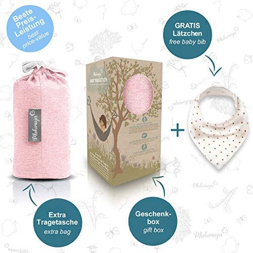 Babytragetuch aus 100% Baumwolle - Rosa – hochwertiges Baby-Tragetuch für Neugeborene und Babys bis 15 kg – inkl. Aufbewahrungsbeutel und GRATIS Baby-Lätzchen – liebevolles Design von Makimaja® - 7