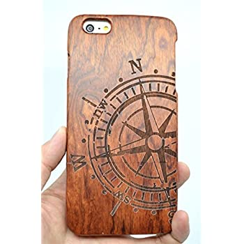 RoseFlower® iPhone 6S 4.7'' Wooden Case - Rosewood Compass - Natural Handmade Bamboo / Wood Cover with Free Screen Protector for your Smartphone