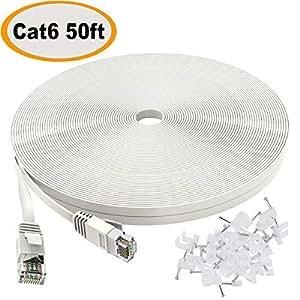 Câble Ethernet Cat6 Câble plat 15m Blanc avec clips,Jadaol® Câble réseau Ethernet plat Cat 6 Câble patch, Internet avec câble RJ45 pieds connectors-Blanc (15 m)