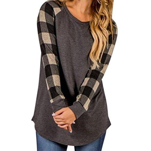 Damen Pullover,Honestyi Damen O-Neck Langarm Sweatshirt Pullover Tops Bluse Shirt (M, Grau)