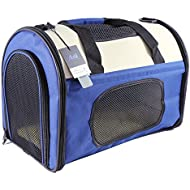 Ada Home Foldable Pet Carrier for Cats Dogs Two-Tone 001 Small Blue