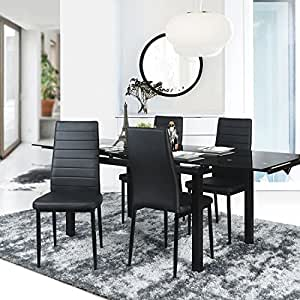 amazoncouk faux leather dining chairs dining room furniture home u0026 kitchen