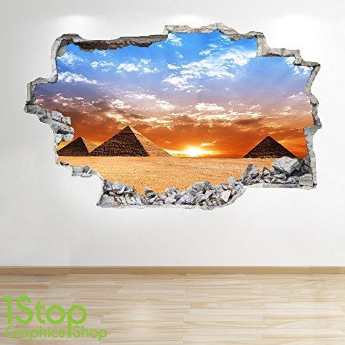 1Stop Graphics Shop Pirámide adhesivo pared 3d Aspecto – Salón Dormitorio EGIPTO CIUDAD adhesivo pared Z86