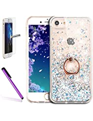 iPhone 6S Plus Coque liquide Paillettes clair rigide, iPhone 6s Plus/6 Plus (14 cm) Coque Bling, CE iPhone 6S Plus Luxe Bling Paillettes Diamant Fluide 3d Creative Quicksand Coque, iPhone 6/6s Plus Coque [avec anneau Béquille] Bling Cristal diamants Sparkles Shinny Hearts Fluide liquide Coque + PC en TPU pour iPhone 6S Plus (2015) et iPhone 6 Plus (2014)