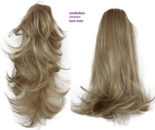 2 Echthaar Perücke (PRETTYSHOP 2 IN 1 Haarteil Pferdeschwanz Zopf Haarverlängerung Haarverdichtung ca 40cm und 50 cm blond #25T613 H304)