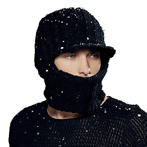 Kenmont hiver en plein air des hommes chauds earflap tricot visière chapeau pointe capuchon de masque