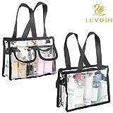 LUVODI®Transparente Tasche Kosmetiktasche PVC durchsichtige wasserdichte abnehmbare Schultergurt Handtasche Umhängetasche mit 2 kleinen Taschen Strandtasche