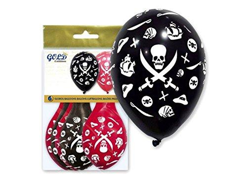 Lote de 10 Bolsas de Globos Decorativos 'Piratas' Colores Surtidos (60 Globos). Juguetes y Regalos Baratos para Fiestas de Cumpleaños, Bodas, Bautizos, Comuniones y Eventos.