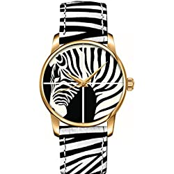 OUO Women Girls Genuine Leather Straps Animal Zebra Black Print Wrist Watch