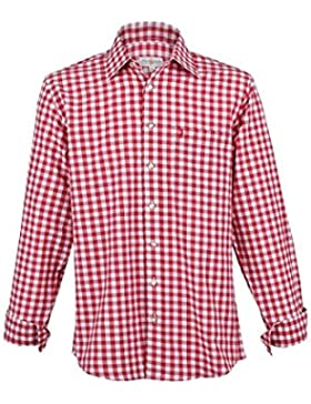 Herren Almsach Trachtenhemd rot-weiss karo langarm von Gr. S-XXXL - Der Klassiker für alle Oktoberfeste und Volksfeste...