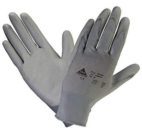10 PAAR - Profi Arbeits-handschuhe Feinstrick Handschuh mit Soft-PU Beschichtung für Mechaniker Abbruch Renovierung Montage - Grau, Größe: 8
