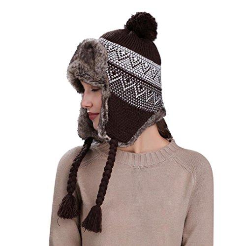 Strickmützen Transer® Unisex Damen Cap Häkeln Strickwolle Schützen Ohren Hüte Wärmer Winter Outdoor Mützen Kappe mit Flauschigen Ball (Kaffee) (Ball-kappe Damen)