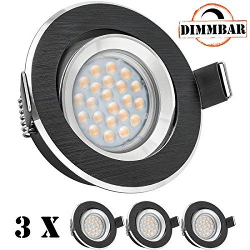 3er LED Einbaustrahler Set Bicolor (chrom / schwarz) mit LED GU10 Markenstrahler von LEDANDO - 5W DIMMBAR - warmweiss - 60° Abstrahlwinkel - schwenkbar - 50W Ersatz - A+ - LED Spot 5 Watt - Einbauleuchte LED rund