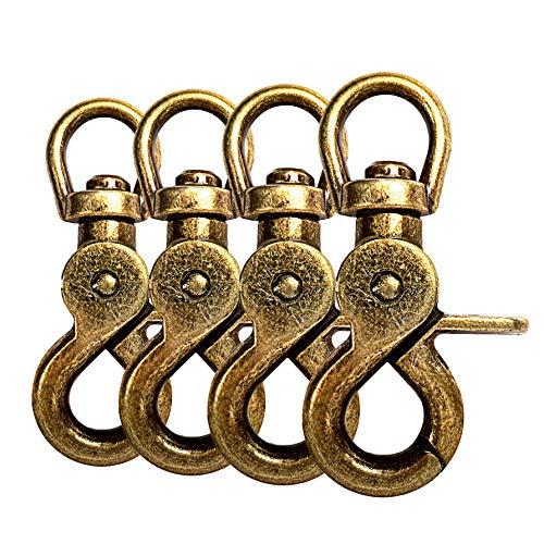 Scheren-Karabiner Haken mit Dreh-Gelenk/Dreh-Kopf für Hunde-Leine/Hals-Band 4er Set, legierter Stahl 61mm Länge, auch für Paracord 550 / Schlüssel-Anhänger, Farbe: Gold-Optik antik