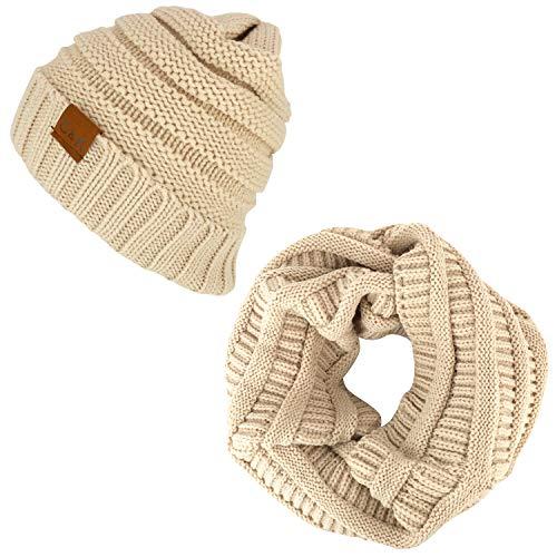 Trendy Apparel Shop Winter-Strickbündchen, Mütze und Schal Infinity, 2-teiliges Set - beige - Einheitsgröße