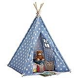 My Play Tenda per Bambini Tenda per Bambini Tepee Play House con Finestra e Tappetino, Uso Interno / Esterno Tela in Cotone Altezza 158 cm (Blu con Stelle)