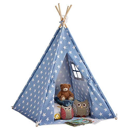 My Play Children's Teepee Tent Kids Tepee Play House with Window & Floor Mat, Indoor/Outdoor Use Cotton Canvas 158 cm Tall (Blue with Stars)