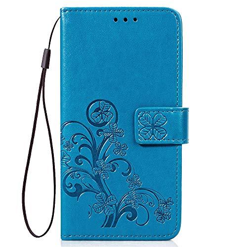 LAGUI Hülle Geeignet für Samsung Galaxy J4 Core, Schönes Muster Brieftasche Handyhülle. Blau
