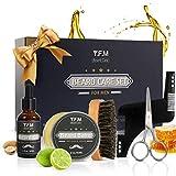 Kit per la cura della barba Luckyfine Beard Maintenance - 30ml Beard Oil + Beard Balm 60ml + Barba pettine + Forbici in acciaio inox + Stencil Pettine in confezione regalo Busta ideale per Capodanno