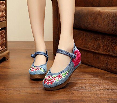DESY pattini ricamati, biancheria, unico tendine, stile etnico, scarpe femminili, moda, comodi, scarpe di tela 5 centimetri denim blue