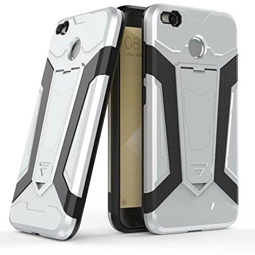 Neue Rüstung Tough Hybrid 2 in 1 Dual Layer Armor Defender PC Hard Shell Cover mit Kickstand [Shock Absorbtion Case] Für Xiaomi Hongmi Redmi 4X ( Color : Red ) Silver