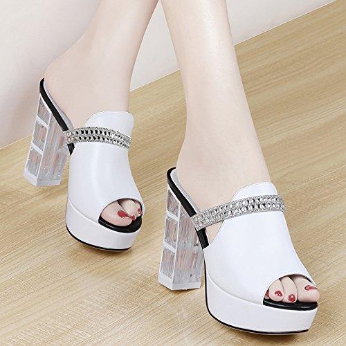 ZYUSHIZ Frau Wild High-Heel weitergeleitet Outdoor Hausschuhe Sandalen Weiß