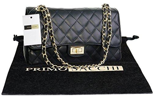 Borsa di cuoio italiano Design classico diamante forma borsa tracolla imbottita, con catena in metallo e cuoio, maniglie / tracolla include una custodia protettiva marca Medio nero