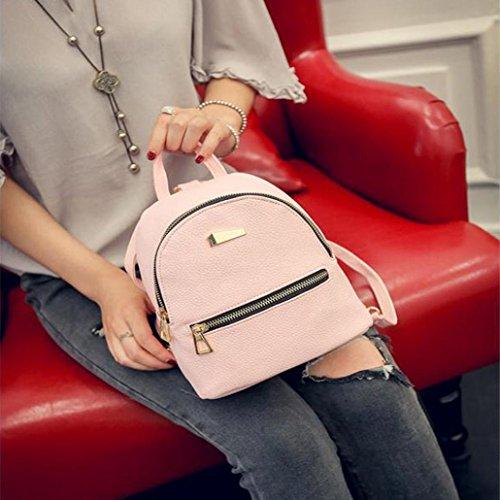 BZLine® Frauen neue Leder Rucksack Reisen Handtasche School Rucksack, 19cm*17cm*12cm Pink