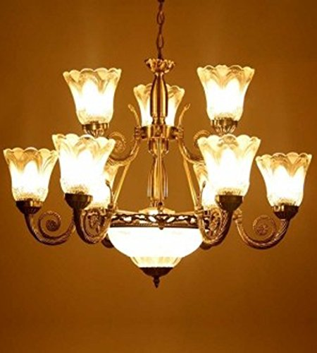 Antique Chandelier With 9 Portuguese Style Lamps and 1 Glass Handi